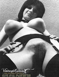 Vintage Hairy Naked Babes On B&W Photos From The 70's